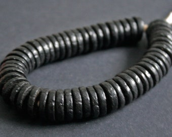 25 African Disc Beads, Ethnic Ghana Krobo Recycled Glass 16 - 17 mm Black Spacers, Handmade