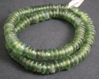 40 African Disc Beads, Ghana Krobo Recycled Glass Spacers, Translucent, Green,  for Jewellery and Crafts, 12-14 mm, Handmade, Pack of 40
