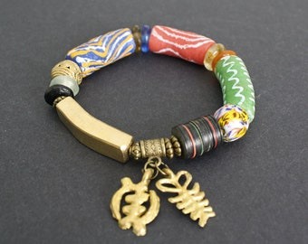 African Bracelet, Ghana Recycled Glass and Brass Beads Jewelry,  with, Adinkra Aya & Gye Nyame Symbol Charms, Great Small Gift for her