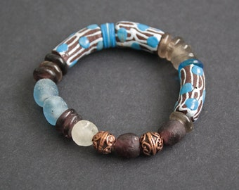 African Bracelet, Stretchy Ghana Krobo Recycled Glass and Greek Metal Beads, Small Gift for Her, Blue/Chocolate Brown