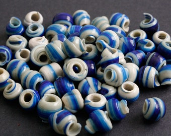 15 Blue African Beads, Handmade Ethnic Recycled Plastic, Spiral Round, Blue & Pale Blue for Jewelry and Crafts