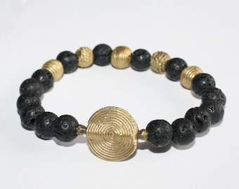 Natural Lava and African Brass Bracelet Stretchy, 7 inches, Pretty & Cute, Black/Gold