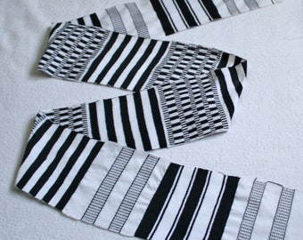 Kente Fabric Ghana Authentic Handwoven Ethnic Cotton Strip, White/Black, Graduation stole/For sewing