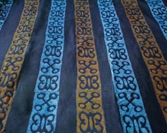 African Adinkra* Fabric by the Yard Ghana Cotton Batik, Ethnic Print, Symbols of Hope and Endurance,  Hye Wo Nhye & Nyame Nwu Ma Mawu