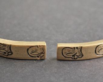 2 African Brass Bracelet Bars, 41-42 mm Curved Handmade Ethnic Ashanti Ghana Craft