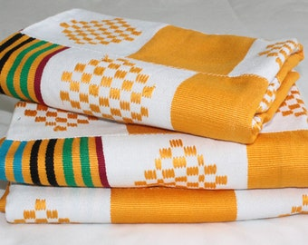 Kente Fabric from Ghana, Authentic Handwoven Traditional Festive Cloth, White/Multi, One Piece, Choose from 3 Sizes