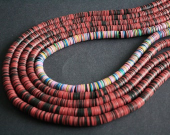 African Vinyl Beads, Vulcanite Heishi Discs 10mm wide, Full Strand 31/35 inches Long, for Beading and Crafts, Red/Black or Pink Mix