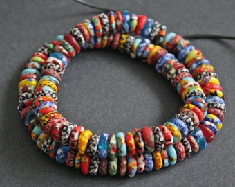 Full Strand Mixed Refashioned Glass Disc Beads Hanmade in Ghana, 10-11 mm Wide, for Jewely and Crafts, 130 beads