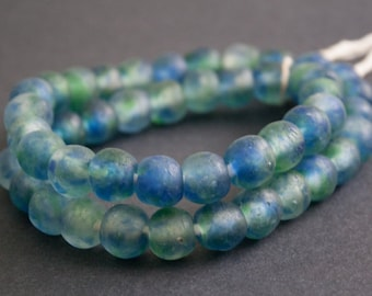 15 Large African Beads, Ghana Krobo Ethnic Recycled Glass, , 13-14 mm, Blue and Aqua Multi-tones