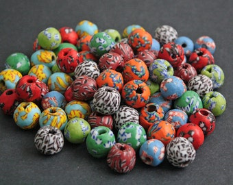 Mixed Lot African Beads, Ghana Refashioned Glass, 14-17 mm, Multi-Colours, Various Designs, 6 Options