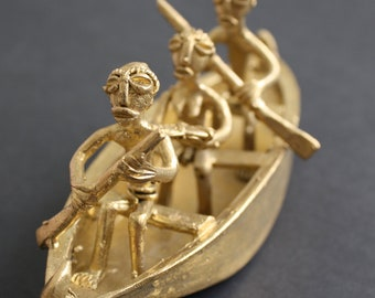 African Brass Ornament of Boatmen Handcrafted by The Lost Wax Metal Casting
