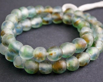 15 African Glass Beads, Ghana Krobo Ethnic Recycled Glass, Mottled Green, Blue and Gold tones, 13-14 mm,