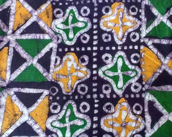 African Batik Fabric Ghana Cotton Cloth hand-dyed preshrunk for Clothing Interiors and Crafts, Purple/Green/yellow
