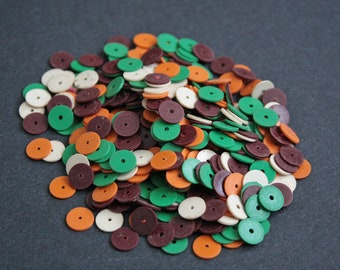 8 mm African Vinyl Beads, Vulcanite Heishi Discs, Brown, Orange and Cream Mix, 21 grams