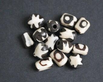 15 Small African Bone Beads Ethnic Kenyan Batiked Craft, 10-12 mm, Mixed Lot of 2 designs