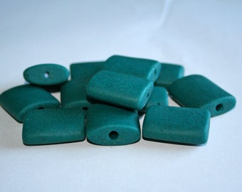 5 Large African Beads, Recycled Glass, Handmade ethnic Craft from Ghana, 26 x 23mm, Speckled Teal