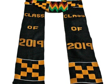 Kente Graduation Stole, Class of 2019 Authentic Handwoven Ethnic Strip or Stole, Fathia Fata Nkrumah Design, Black, REDUCED TO CLEAR