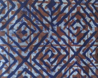 Brown African Batik Fabric, Ghana Ethnic Cotton Print, for Clothing Interiors, Quilting, Crafts. Handprinted & Dyed Pre-shrunk
