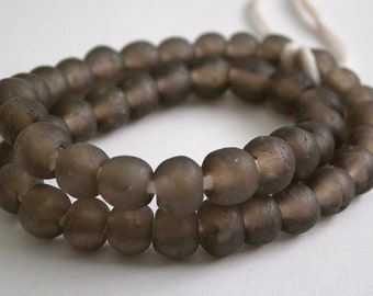 45 African Beads,Ethnic Ghana Recycled Glass Craft, 13-15 mm, for Jewelry and Crafts, Translucent, Full Strand