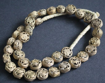 10 African Brass Beads, Ashanti Ghana Lost Wax Technique, 13-15 mm Wide,  Handmade