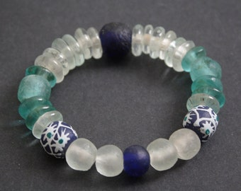 Beaded African Bracelet, Ghana Krobo Recycled Glass Beads, Small Gift Idea, Cobalt Blue/Aqua/Clear, 6 inches