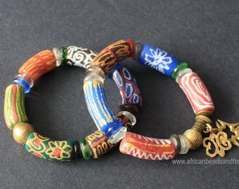 African Stretchy Bracelet , 7-inch Chunky Ghana Krobo Recycled Glass & Brass Beads with 2 Charms/No Charm, Gift Idea, Free Bag