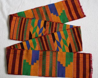 Kente Fabric Strip Authentic Handwoven Ethnic Ashanti Cloth, Cotton,  62 inches, Discounted Price, For Sewing, Crafts
