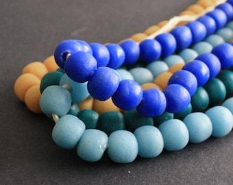 Large African Beads,  Ghana Krobo Recycled Glass, 13-15 mm Round, Handmade Ethnic Beads. Mustard/Teal/Blue/Deep Blue