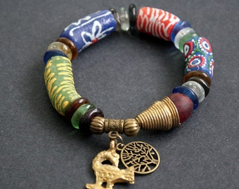 Chunky African Bracelet, Ghana Krobo Recycled Glass Beads, with Brass Cone Beads and Adinkra Sankofa and Tree of Life Charms, 7 inches