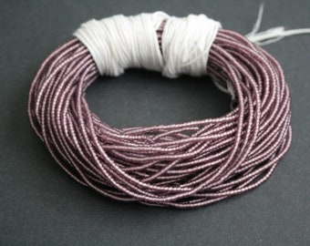 Purple Waist Beads or Seed Beads, Tiny 1.5 mm frosted mm Glass, Long Strand 41 inches with Cotton Cord, 2 long strands
