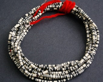 3 mm African Vinyl Beads, Vulcanite Heishi Discs, Black and Cream Mix,  35 inches, Long Strand