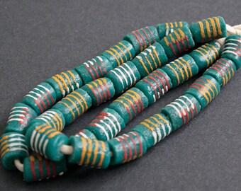 15 Teal African Beads, Ghana Krobo Recycled Glass Tubes, Handmade 15-17 mm, 1 Strand