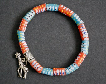 Beaded Anklet with Giraffe Charm and African Recycled Glass Beads, Gift for her, Stocking Filler/Stuffer