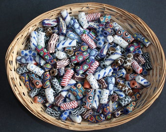 Mixed Lot African Tube Beads, Handmade Recycled Glass from Krobo, Ghana, Large Beads for Jewelry and Crafts