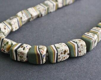 9 African Beads, Ghana Recycled Glass, Cuboid Krobo, 16-19 mm, Handmade Ethnic Craft, Army Green Mix