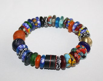 African Bracelet, Krobo Ghana Refashioned Glass Beads, Stretchy 6.5 inches. Gift for her, Stocking filler/stuffer
