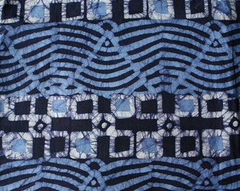 Blue African Fabric by the Yard, Ghana Ethnic Cotton Batik, Preshrunk and Hand-Dyed, Authentic Ethnic Cloth, Blue/Indigo/White