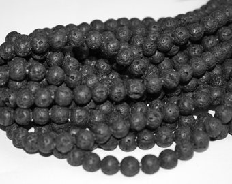 8 mm Natural Lava Beads, One Strand, 15 inches,48 beads, Dark Grey/Charcoal