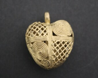 African Tribal Brass Pendant/Charm Handmade Ashanti Ghana, Heart-shaped Hollow Pod, for Statement Piece, 45 mm. 2 Design Options
