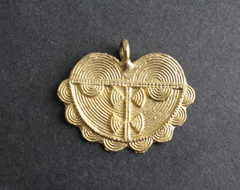 1 African Tribal Brass Pendant, Handmade Ashanti Ethnic Lost Wax Technique, 43mm