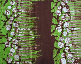 African Fabric by the Yard, Ghana Cotton Batik,  Authentic Ethnic Print, Lime Green and Brown, for clothing, Head Wraps, Interiors & Crafts