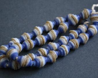 32 African Cone Beads, Ghana Krobo Recycled Glass , Blue,/White/Gold, 1 Strand Full strand, Handmade.