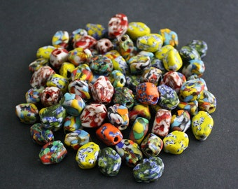 12 African Beads, Refashioned Glass, Handmade in Ghana's Krobo, 6-sided Mixed Lot, 15-20 mm