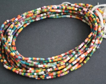 26 inches African Waist Beads/seed beads from Ghana's Krobo, Multi-coloured Glass Beads, with Cotton Tie Cord
