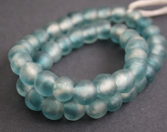 14 African Beads, Ghana Recycled Glass 13-15 mm Round, Handmade, Ocean Blue Multi-tones, for Jewelry and Crafts