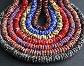 40 African Disc Beads Hanmade in Ghana, 10-12 mm Wide, for Jewelry and Crafts, Pack of 40