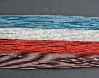 2 Strands Waist Beads/ Seed Beads,Long Strand 39-40 inches with Cotton Cord 4 Colour options; White/Blue/Purple/Red