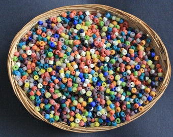 African Spacer Beads, Recycled Glass Short Tubes 4-5mm Handmade 18 Mixed Colours, for Beading & crafts, Pack of 72/144