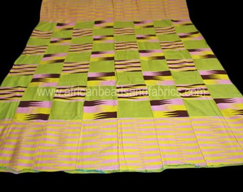 African Fabric, Ghana Kente Cloth, Wedding and Occasion Wear, Cotton, Pink/Brown/Yellow/Blue/White,  Absolutely Stunning, 1 Large Piece