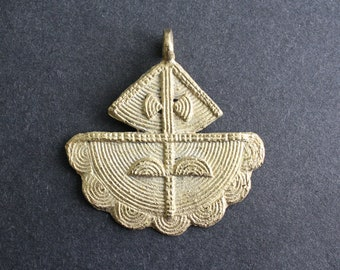 1 African Tribal Brass Pendant, Handmade Ashanti Ethnic Lost Wax Technique, 43/52 mm, 2 Design Options